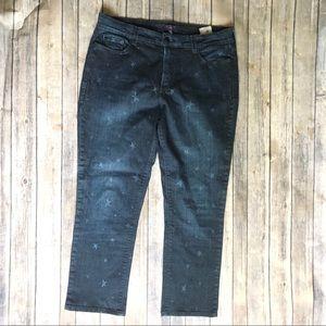 NYDJ 14 Skinny Star Printed Ankle Jeans